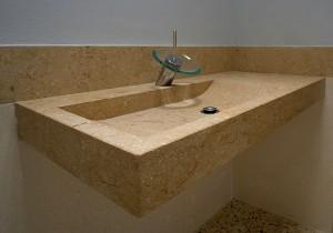 lavello da bagno in pietra gialla