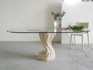 tavolo da pranzo con cristallo ovale
