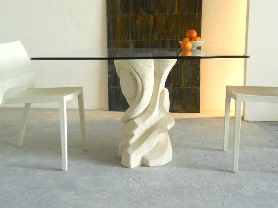 Tavolo Piano In Cristallo.Mezzaluna Square Tavolo