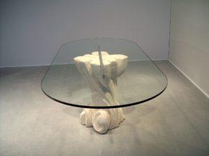 tavolo in cristallo e pietra nouveau