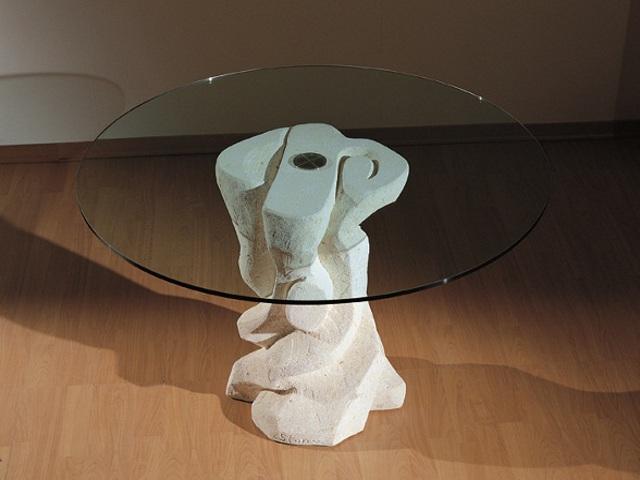 tavolo con cristallo rotondo sala da pranzo