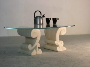 tavolino classico da salotto con cristallo