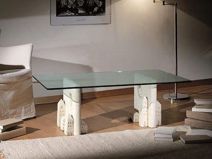 Tavolino da salotto in vetro e pietra