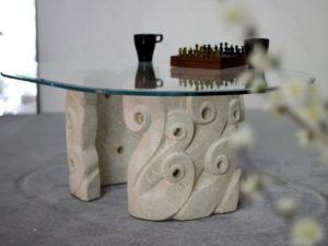 tavolino da salotto con cristallo ovale