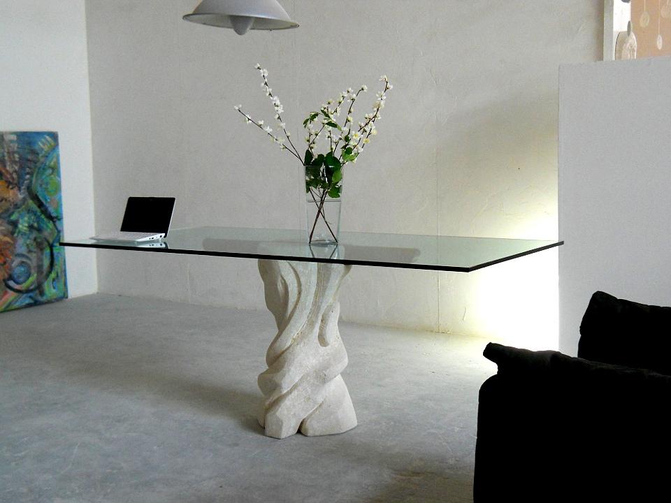 tavolo cristallo mezzaluna cherry | STONEBREAKERS