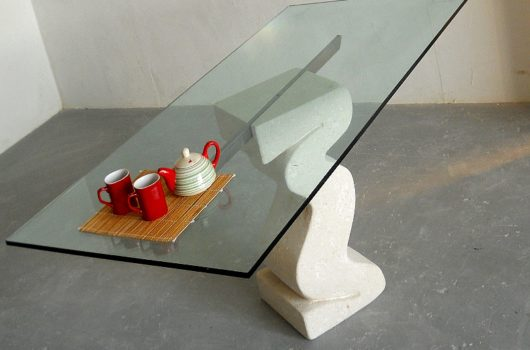 tavolo da pranzo moderno piano in cristallo