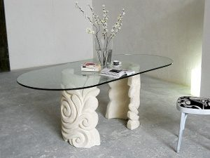 oval glass living room table modern sculpture