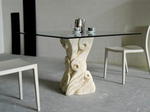 square glass living table modern sculpture