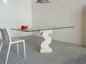 stone and glass top living room table