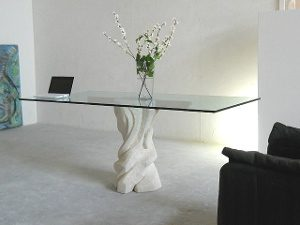 stone base and glass top living room table