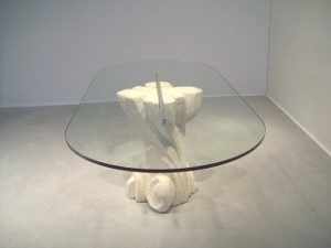 modern style table with oval glass top