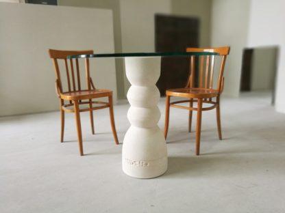 tavolo moderno cristallo pietra rotondo oso