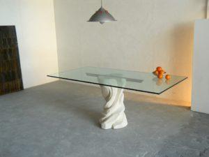 tavolo pietra cristallo mezzaluna