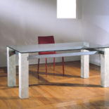 stone steel and glass dining table