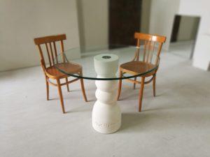 tavolo sala da pranzo con cristallo rotondo
