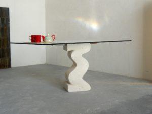 tavolo moderno per sala da pranzo o soggiorno in cristallo